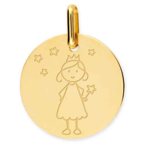 Photo de Médaille Petite Fée Etoilés - Or jaune 18ct