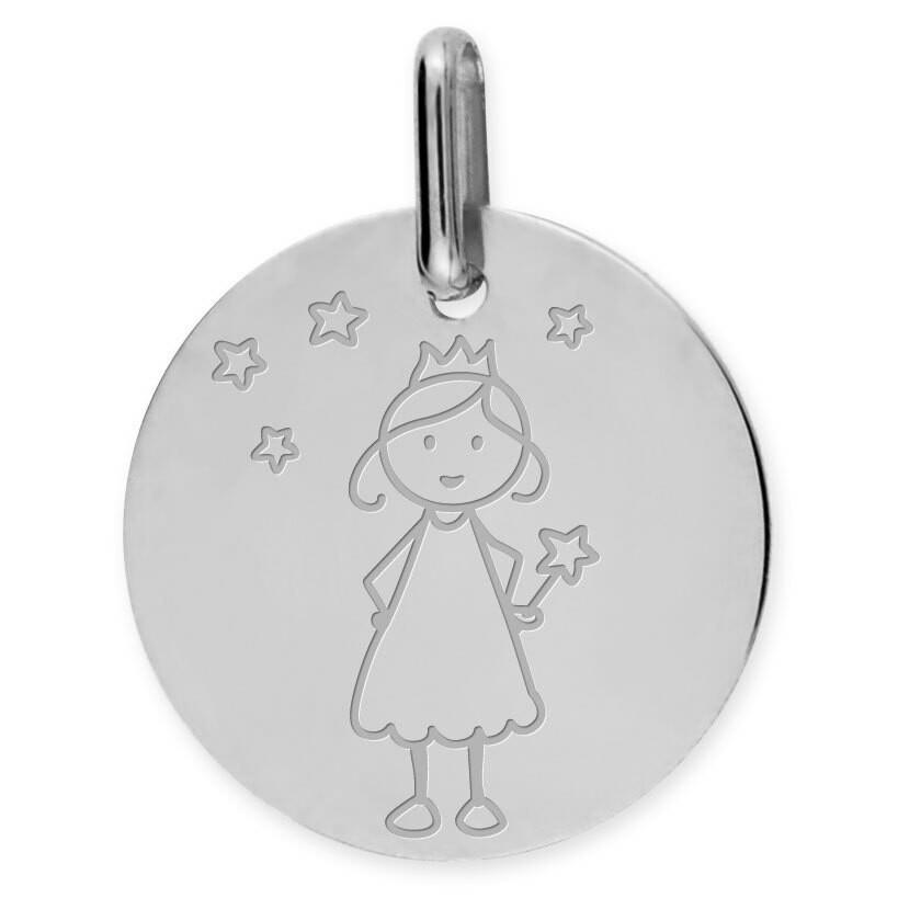 Photo de Médaille Petite Fée Etoilés - Or blanc 18ct
