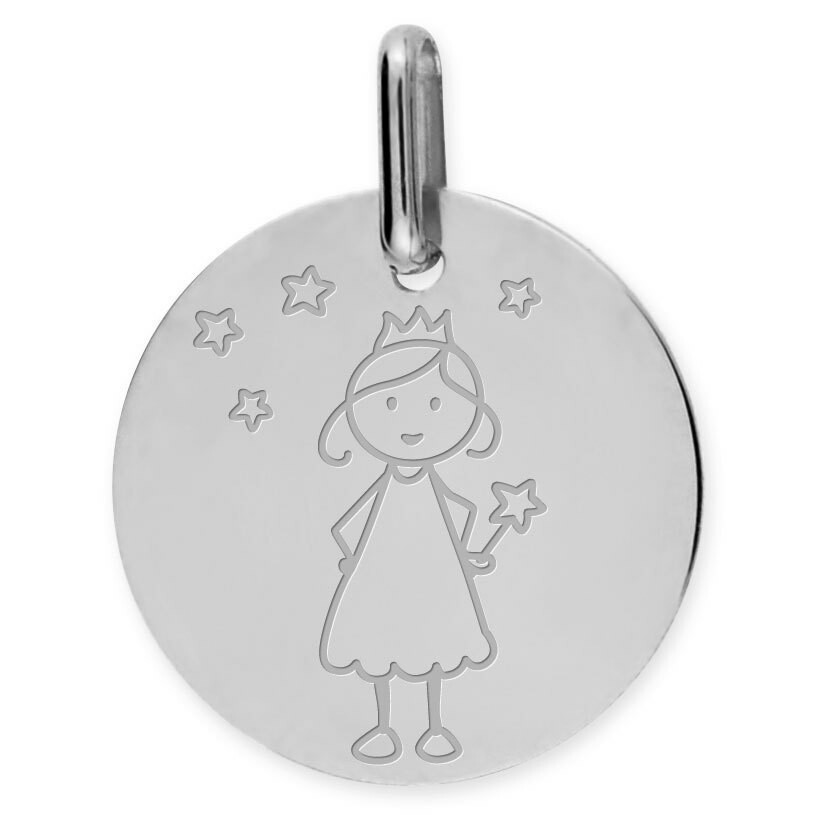 Photo de Médaille Petite Fée Etoiles - Or blanc 9ct