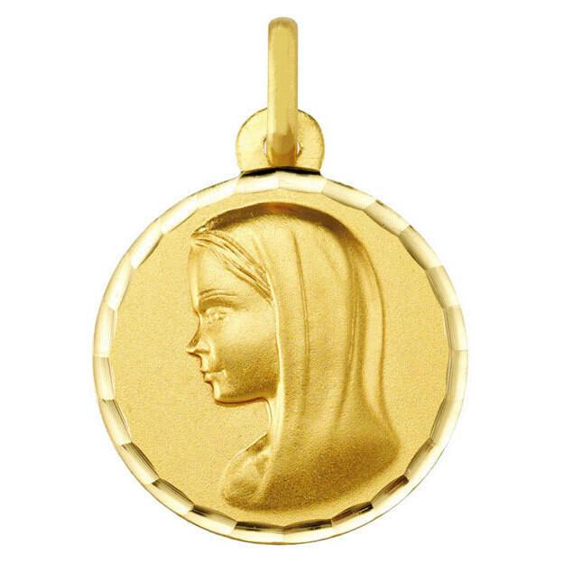 Photo de Médaille Vierge profil gauche - Or jaune 9ct