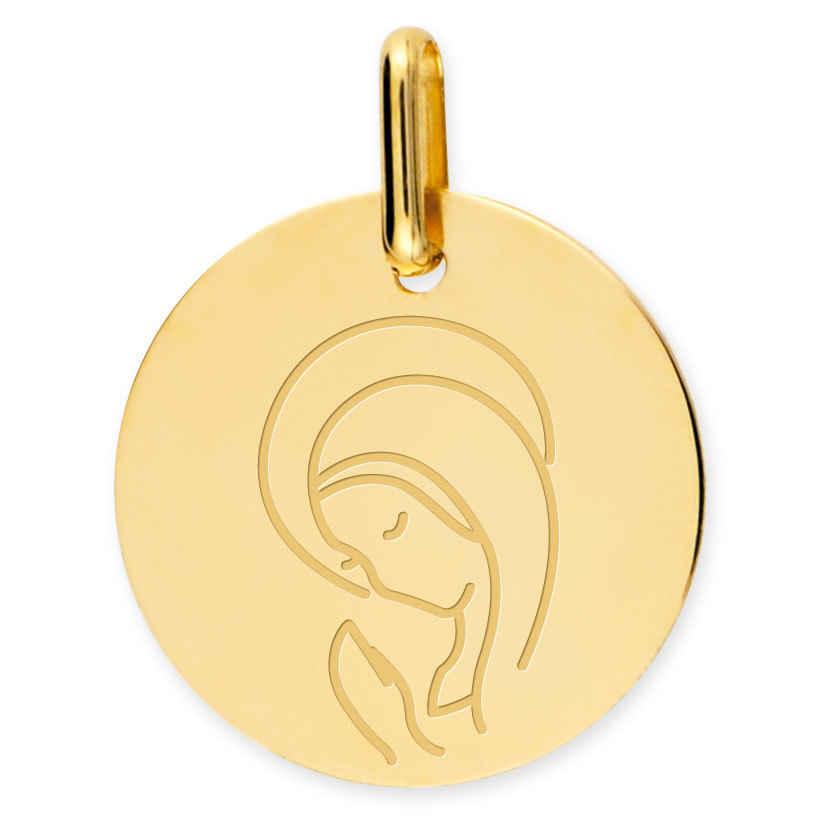 Photo de Médaille Vierge sérénité - Or jaune 9ct