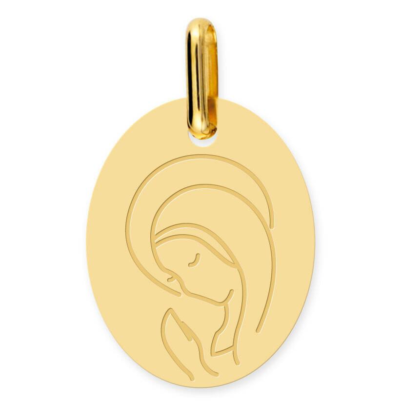 Photo de Médaille Vierge en prière ovale - Or jaune 18ct