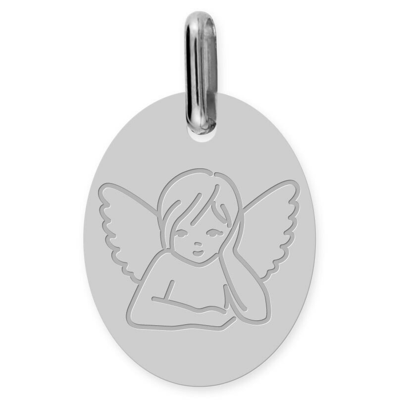 Photo de Médaille Ange pensif ovale (or blanc 9ct)