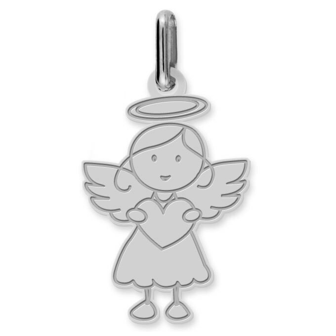 Photo de Pendentif Ange fille au coeur - Or blanc 9ct