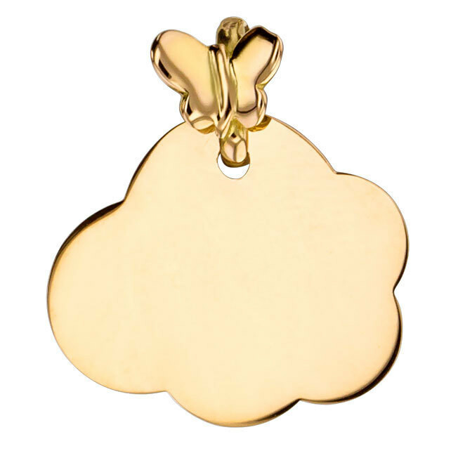 Photo de Médaille Nuage papillon - Or jaune 18ct