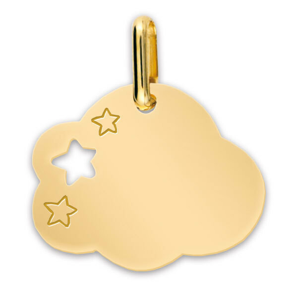 Photo de Médaille Nuage aux étoiles - Or jaune 18ct