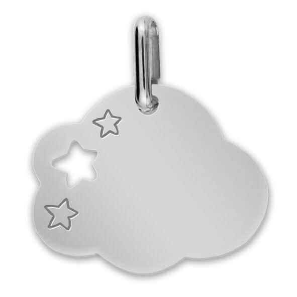 Photo de Médaille Nuage aux étoiles - Or blanc 9ct