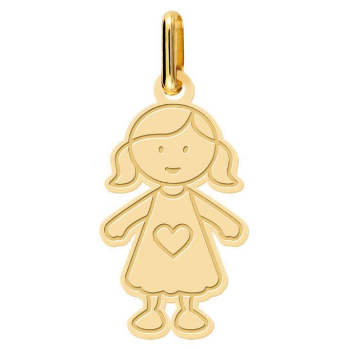 Photo de Pendentif petite fille au coeur - Or jaune 18ct