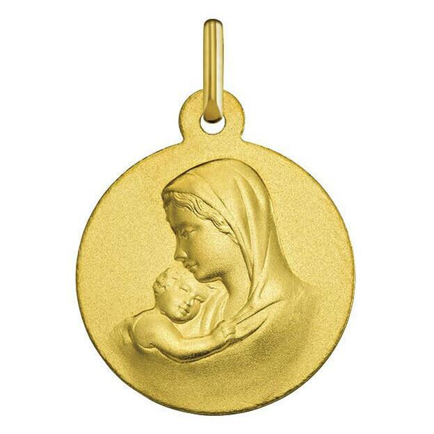 Photo de Médaille Vierge à l'enfant douceur - Or jaune 9ct