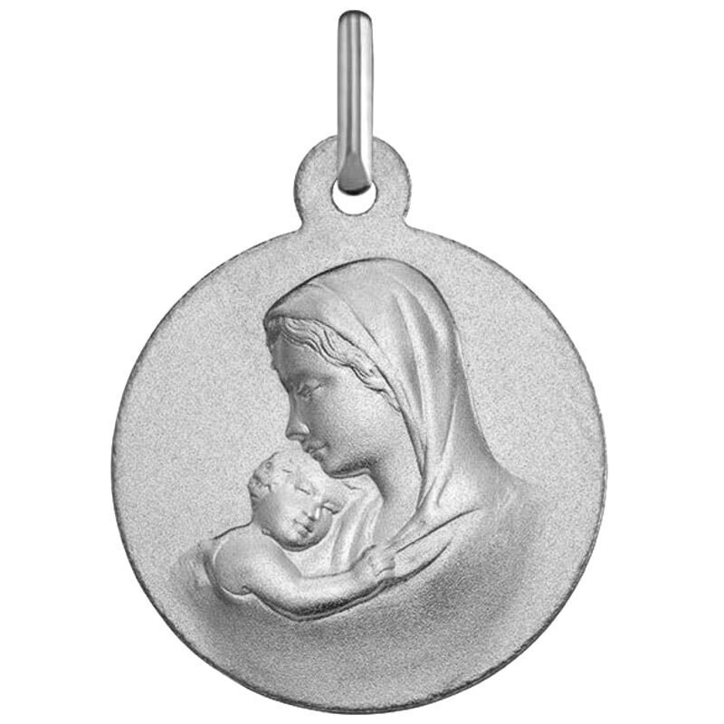Photo de Médaille Vierge à l'enfant douceur - Or blanc 9ct