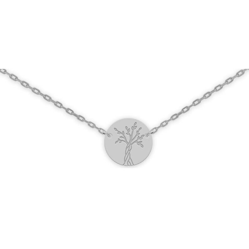 Photo de Collier chaine & médaille Arbre de vie - Or blanc 9ct