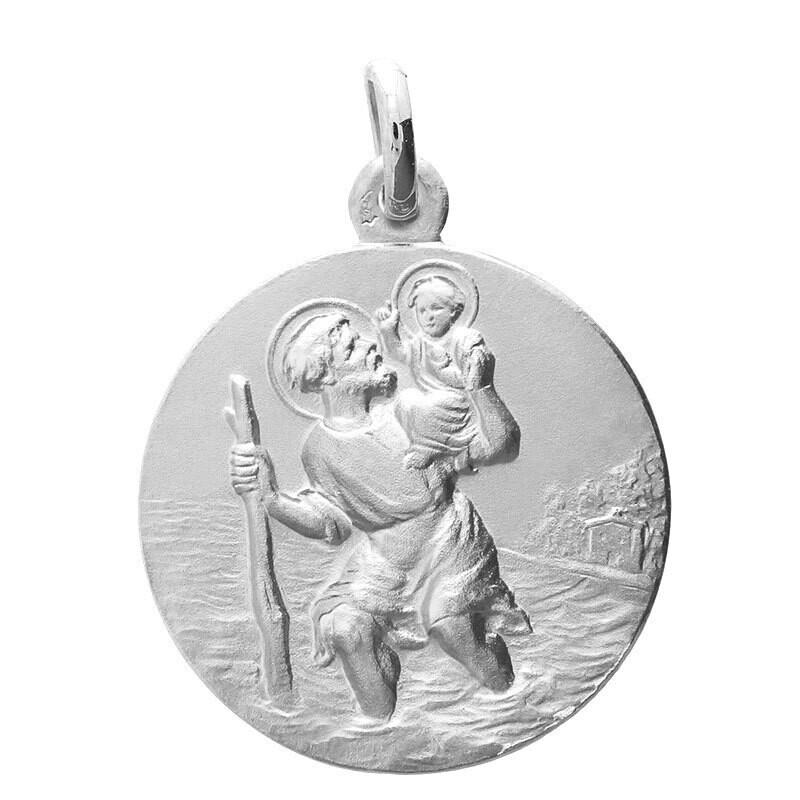 Photo de Médaille Saint Christophe - Or blanc 9ct