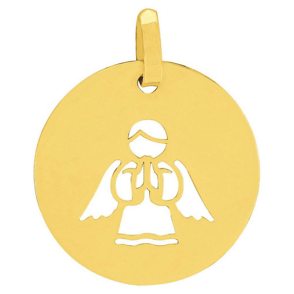Photo de Médaille Ange en prière ajourée - Or jaune 9ct