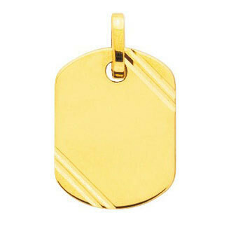Photo de Pendentif plaque tonneau striée - Or jaune 18ct