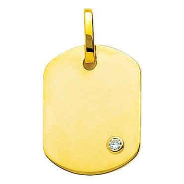 Photo de Pendentif plaque tonneau - diamant & or jaune 18ct