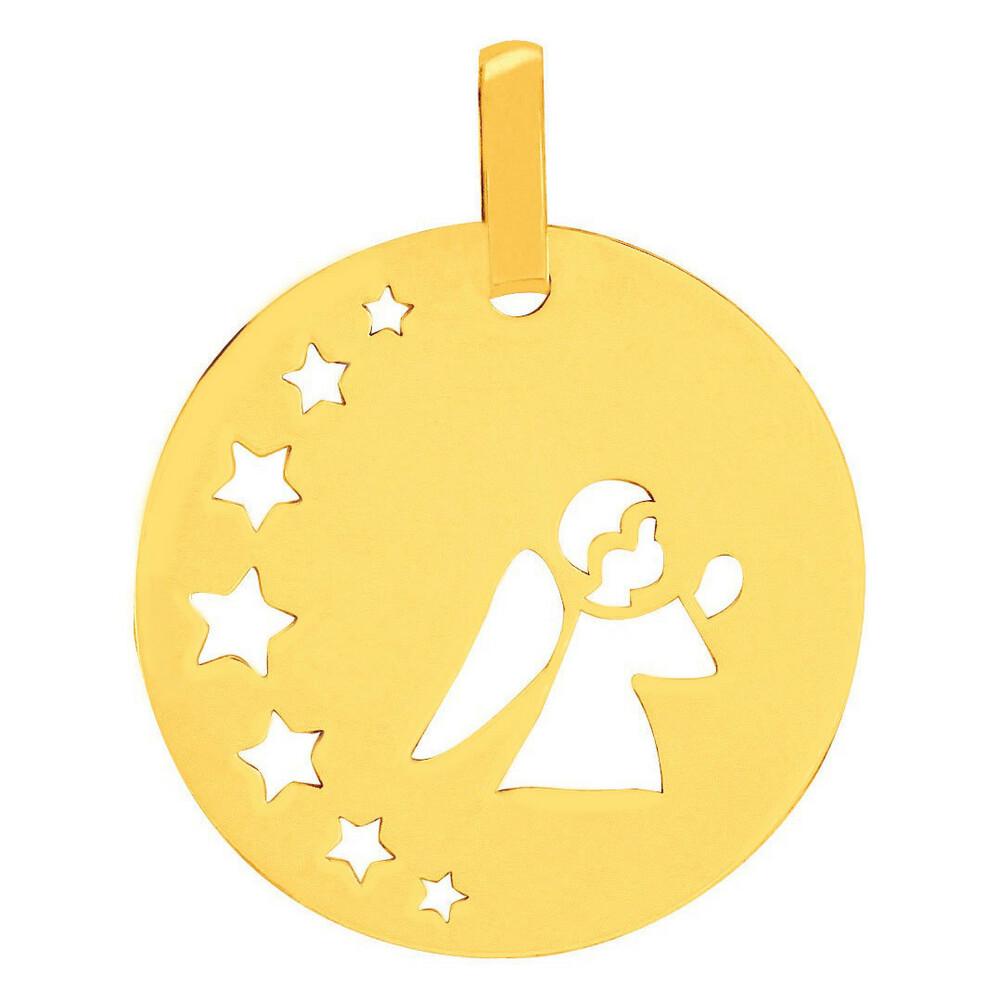 Photo de Médaille petit ange aux étoiles - Or jaune 18ct