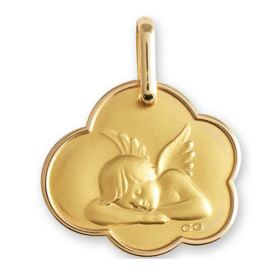 Photo de Médaille nuage Ange endormi - Or jaune 9ct