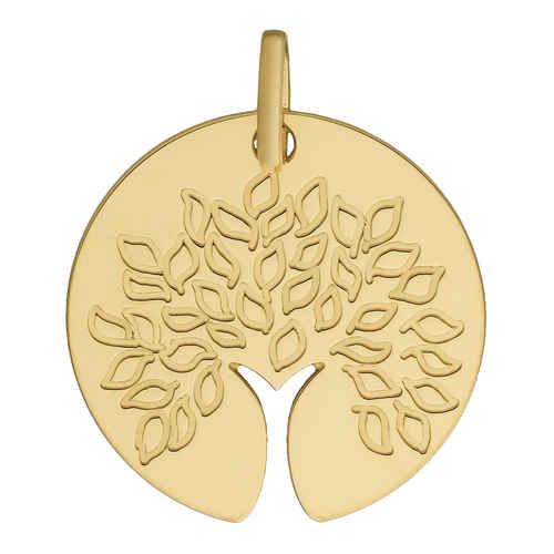 Photo de Médaille Arbre de vie au tronc ajouré - Or jaune 18ct