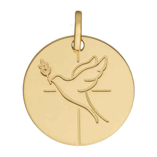 Photo de Médaille de la Colombe croix - Or jaune 18ct