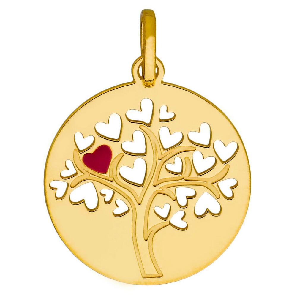Photo de Médaille Arbre de vie ajourée au coeur rouge - Or jaune 9ct