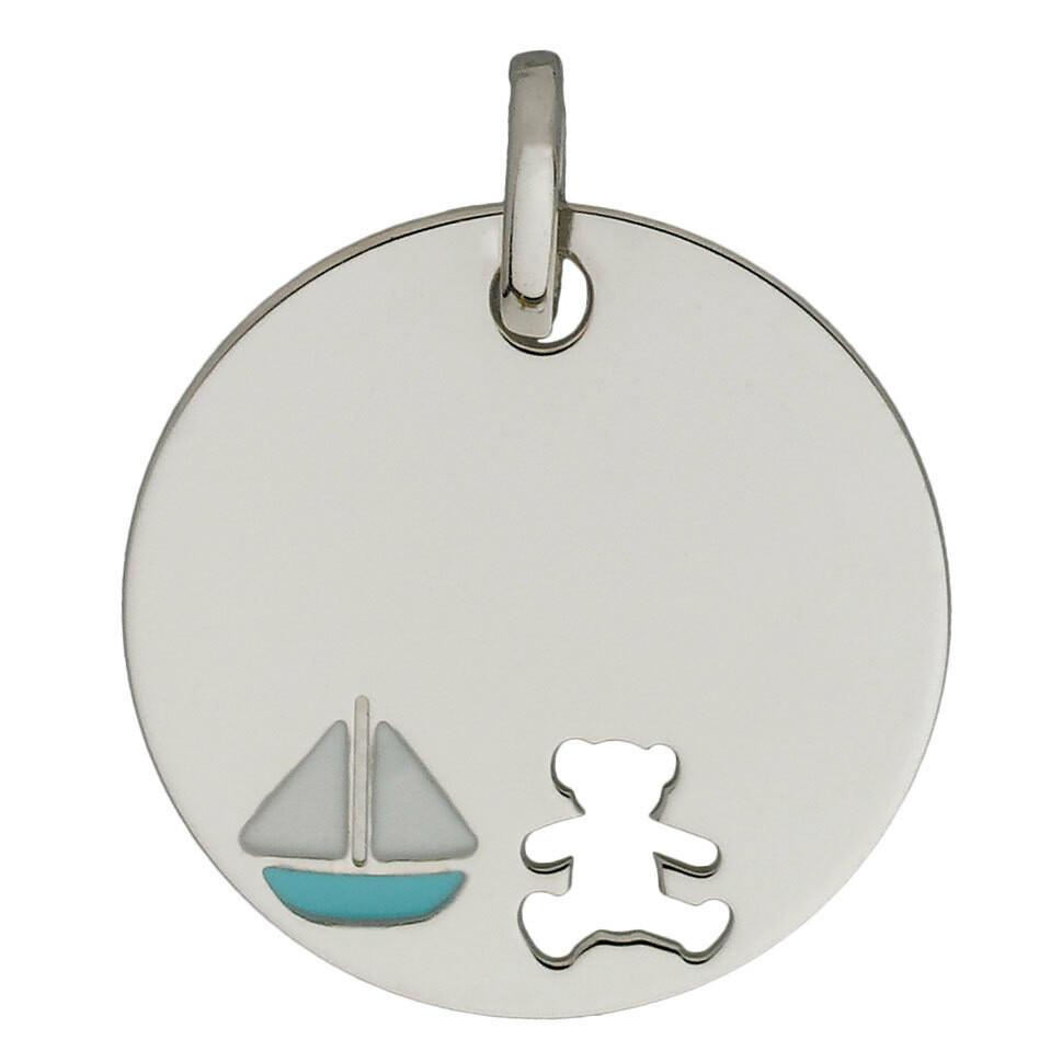 Photo de Médaille bateau LuluCastagnette - Or blanc 9ct