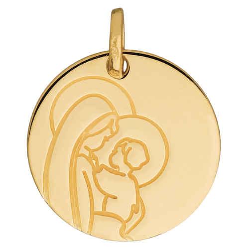 Photo de Médaille Vierge et l'enfant auréolés - Or jaune 18ct