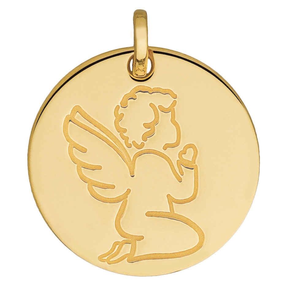 Photo de Médaille Ange en prière - Or jaune 18ct