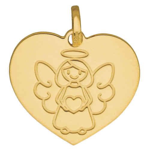 Photo de Médaille Ange coeur ange fille - Or jaune 9ct