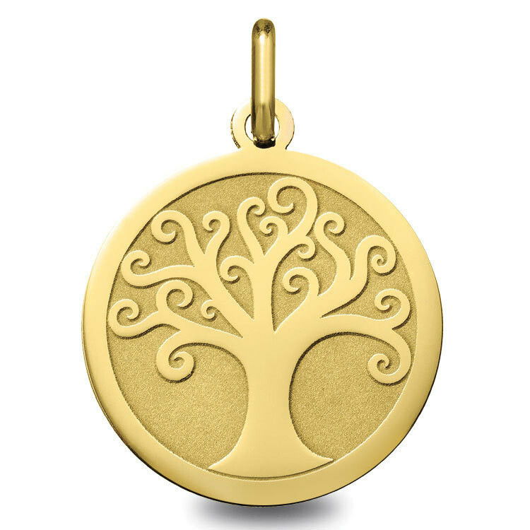 Photo de Médaille Arbre de vie ondulé - Or jaune 18ct