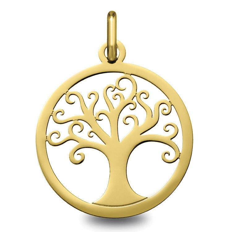 Photo de Médaille Arbre de vie ondulé ajourée - Or jaune 18ct