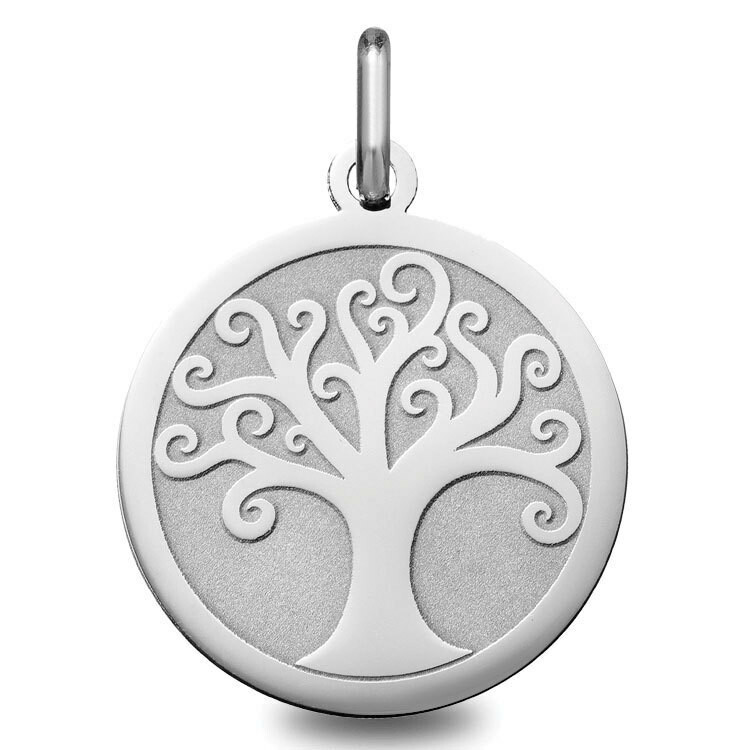 Photo de Médaille Arbre de vie ondulé - Or blanc 18ct