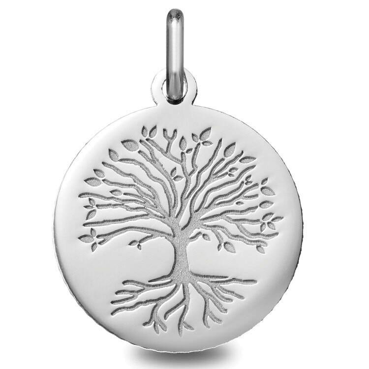 Photo de Médaille Arbre de vie aux racines - Or blanc 18ct