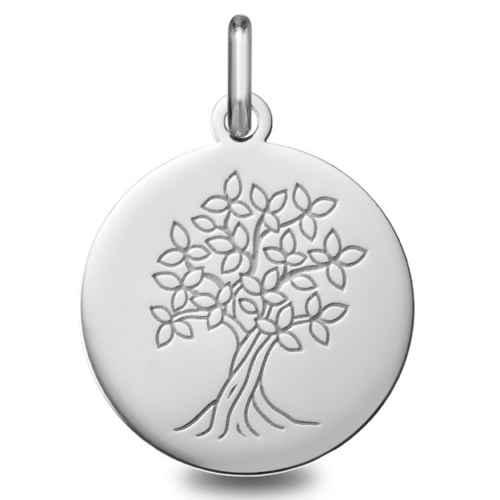 Photo de Médaille Arbre de vie épanoui - Or blanc 9ct