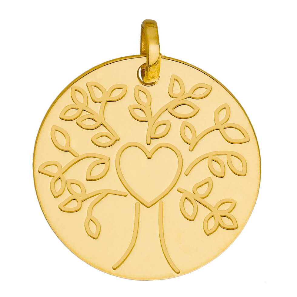 Photo de Médaille Arbre de vie au coeur - Or jaune 9ct