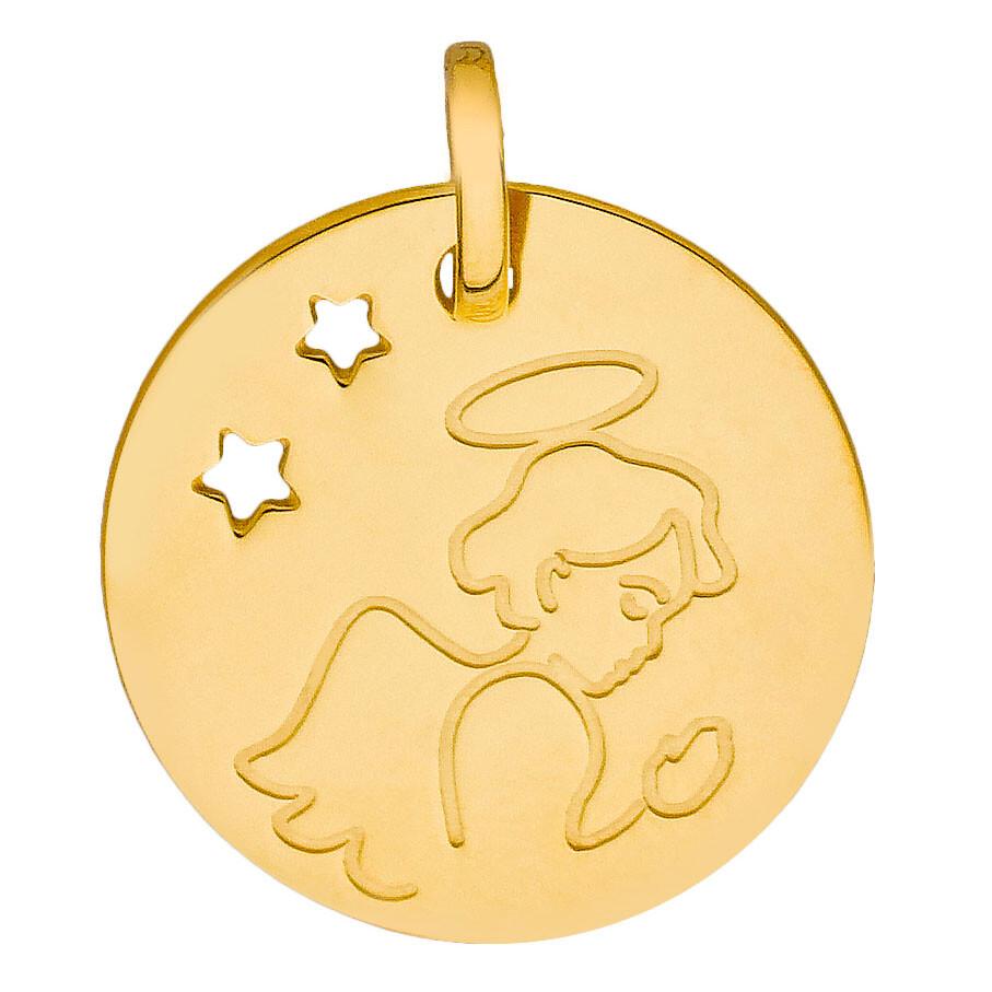 Photo de Médaille Ange aux étoiles ajourées - Or jaune 9ct