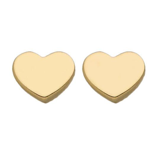 Photo de Boucles d'oreilles coeurs - Puces - Or jaune 9ct