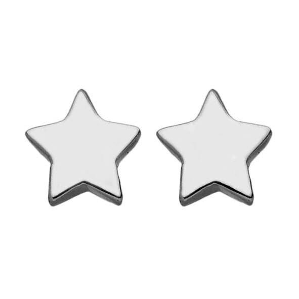 Photo de Boucles d'oreilles étoiles - puces - Or blanc 9ct