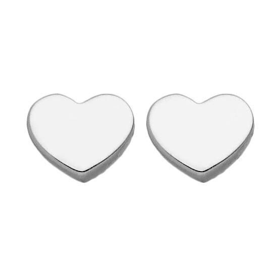 Photo de Boucles d'oreilles coeurs - Puces - Or blanc 9ct
