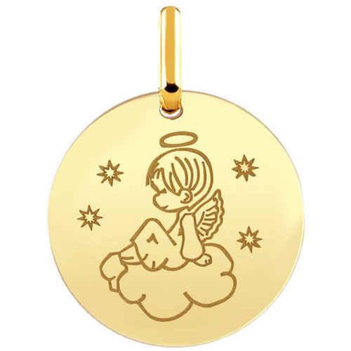 Photo de Médaille ange sur son nuage - Or jaune 9ct