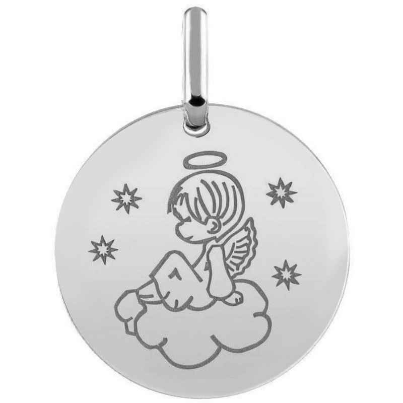 Photo de Médaille ange sur son nuage - Or blanc 9ct