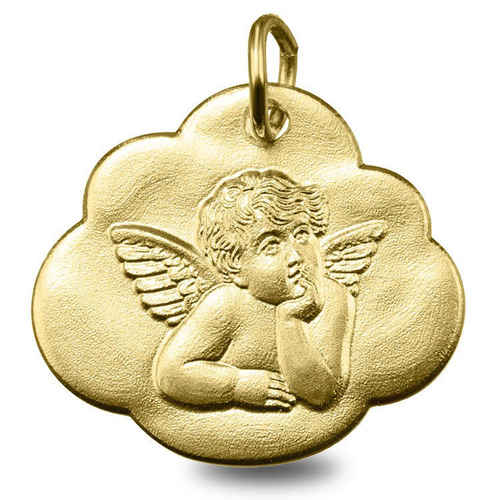 Photo de Médaille nuage Ange pensif - Or jaune 9ct