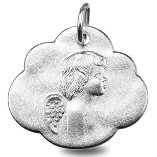 Photo de Médaille nuage ange - Or blanc 9ct