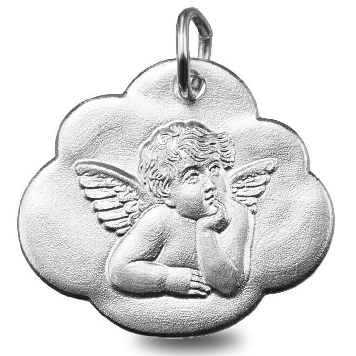 Photo de Médaille nuage ange pensif - Or blanc 9ct