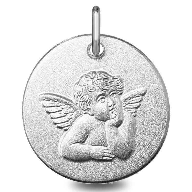 Photo de Médaille ange pensif - Or blanc 9ct