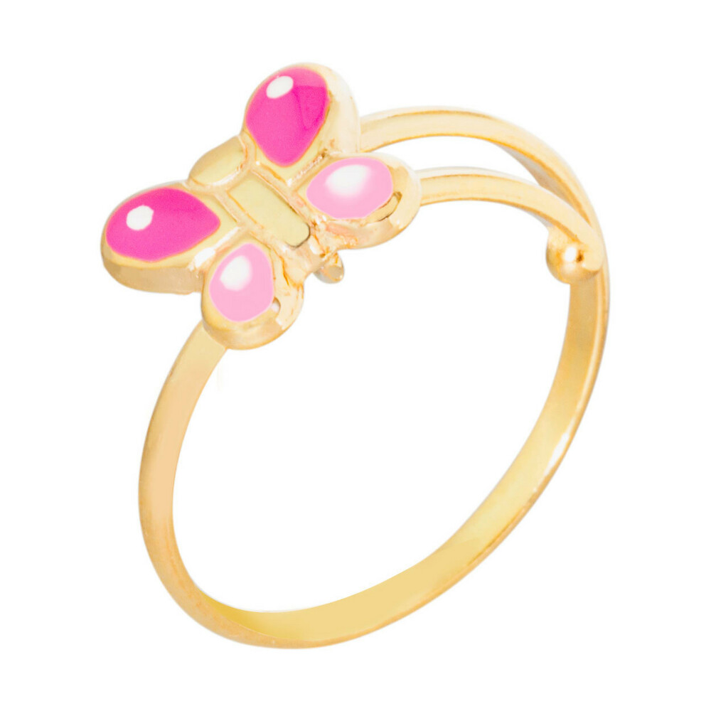 Photo de Bague enfant papillon rose - Or jaune 9ct