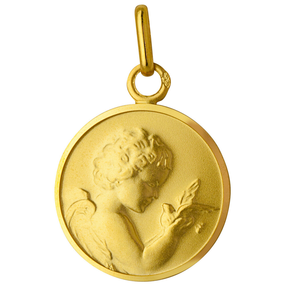 Photo de Médaille Ange à l'oiseau - Or jaune 9ct