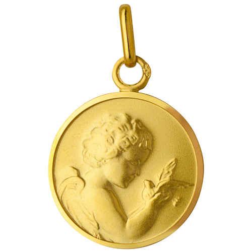 Photo de Médaille Ange à l'oiseau - Or jaune 9ct