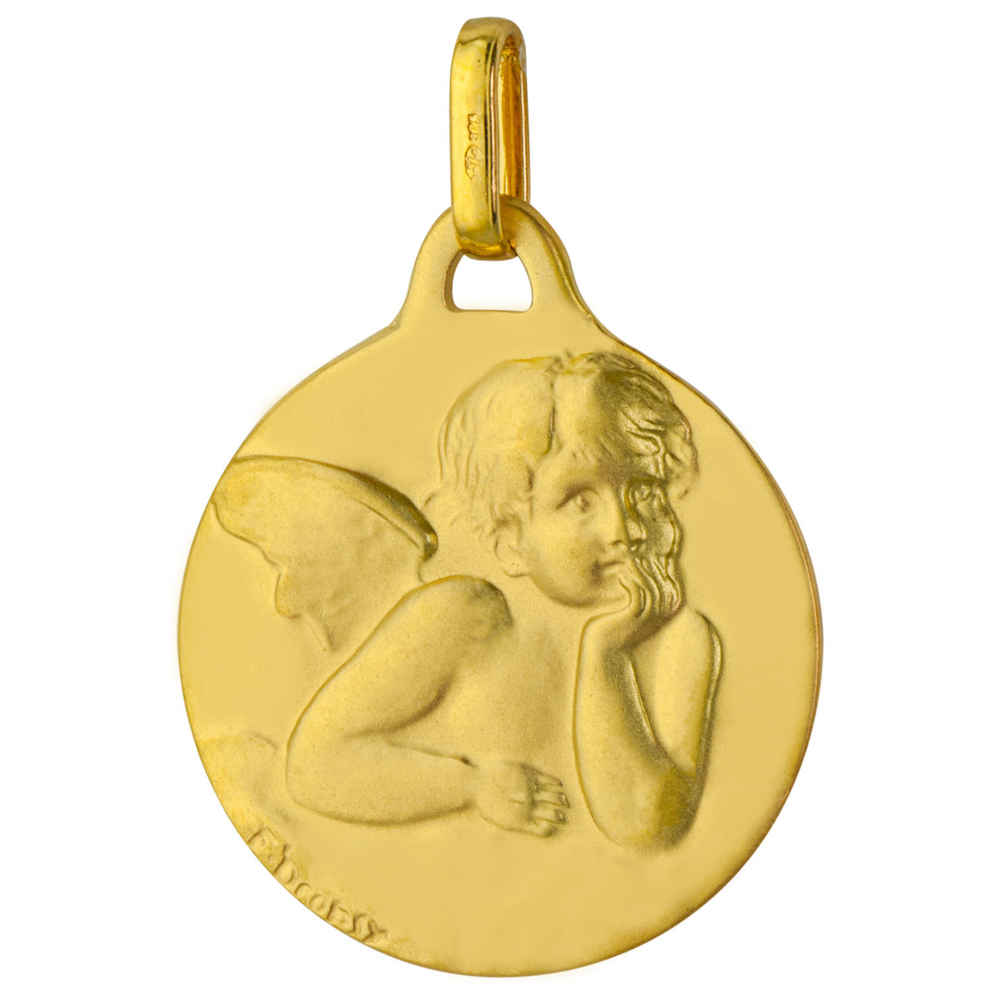 Photo de Médaille Ange ronde satinée - Or jaune 9ct