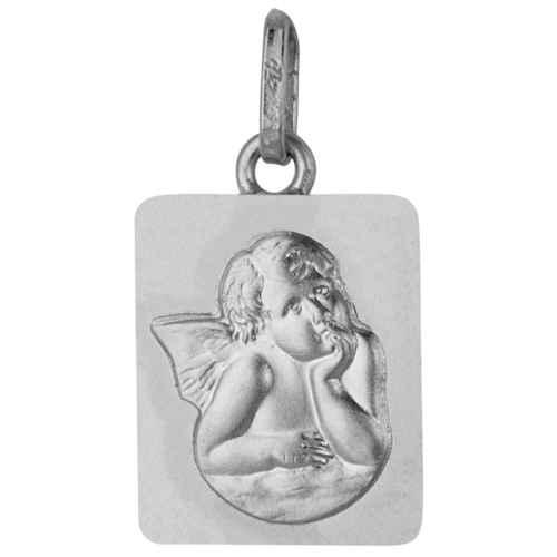Photo de Médaille Ange rectangle - Or blanc 18ct