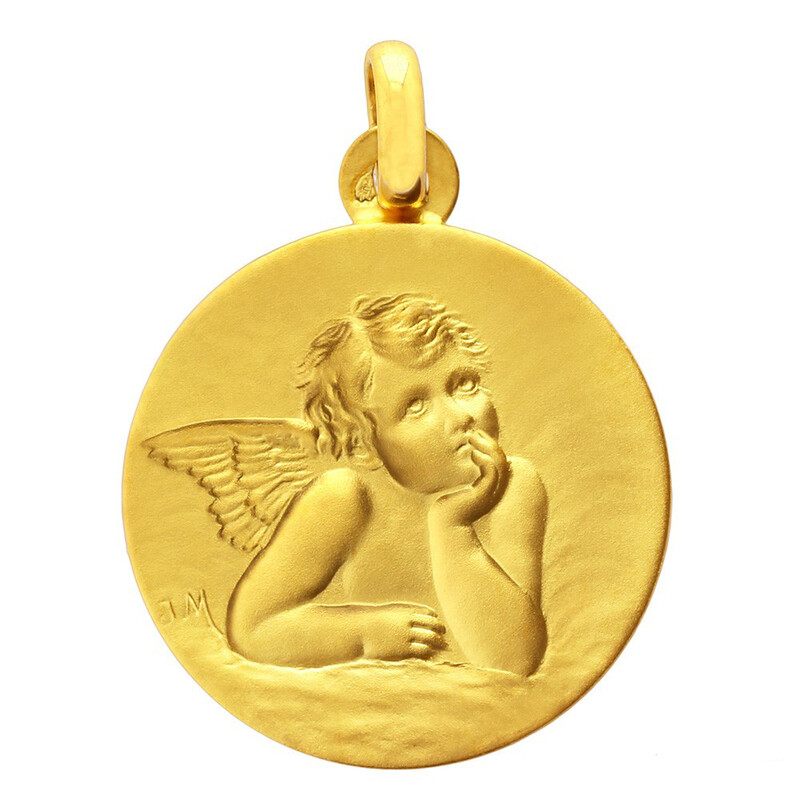 Photo de Médaille Ange ronde - Or jaune 18ct